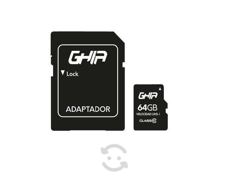 5pz memoria ghia 64gb micro sd clase 10 adaptador