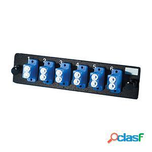 Superior essex panel de 6 adaptadores de fibra óptica lc dúplex monomodo, azul