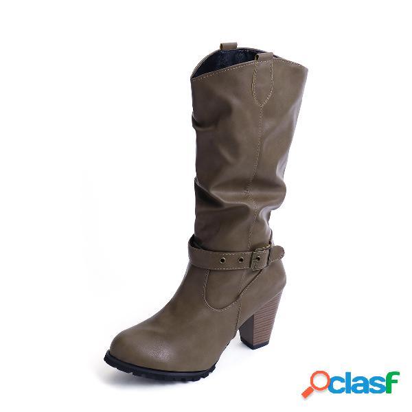 Botas de tacón grueso con hebilla media pierna marrón