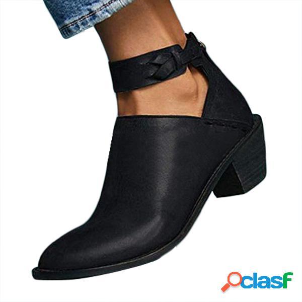 Botas de tacón grueso negro vintage recorte botas de correa de tobillo