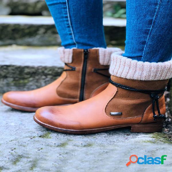 Tamaño grande mujer empalme de calcetines de invierno diario cálido retro botas