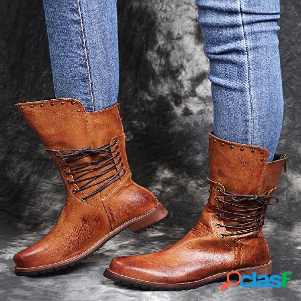 Mujer punta redonda comfy soft cremallera trasera con cordones casual retro mitad de la pantorrilla botas