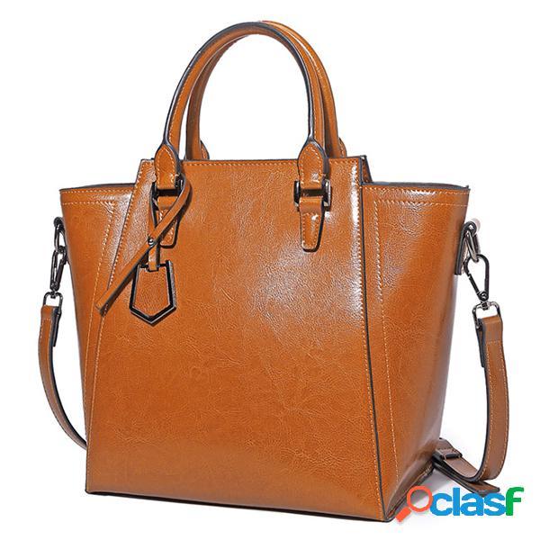 Mujer leatehr genuino oil bolsos retro de cera de gran capacidad tote crossbody bolsa