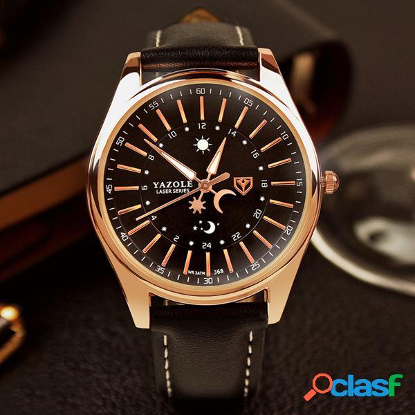 Reloj de pulsera de cuarzo de cuero de lujo para hombres reloj de pulsera de oro luminoso para reloj de sol de negocios de la empresa de lujo para hombres