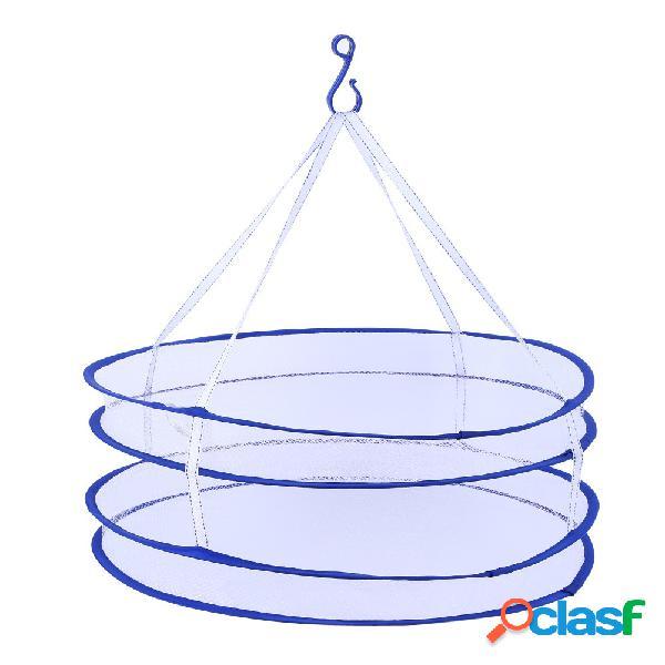 2 capas ropa secado estante secado bolsa de lavandería plegable colgante colgador ropa lavandería cesta