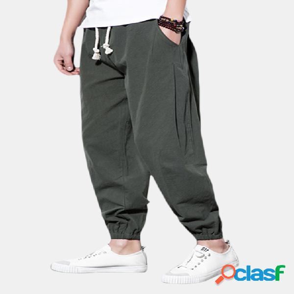Pantalón monocolor lino cordón