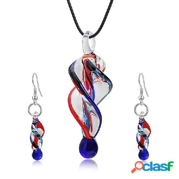 Forme a crystal glass tornado el colgante hecho a mano del collar collares de la declaración para las mujeres