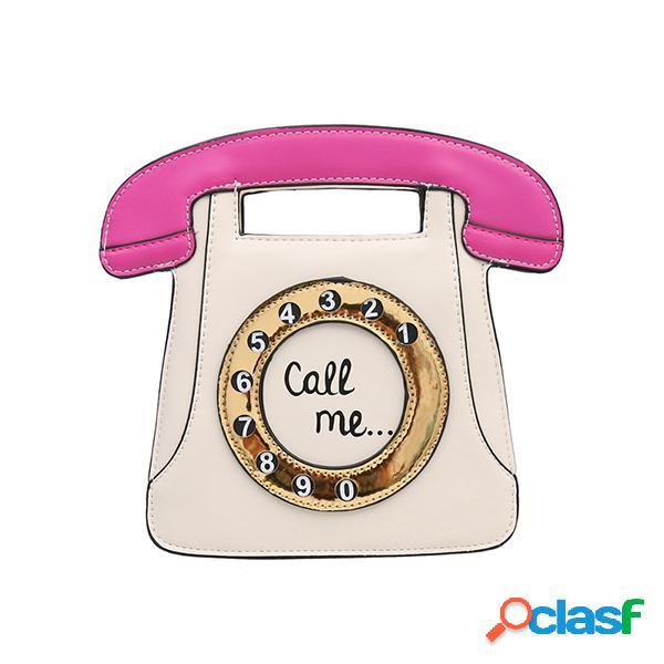 Mujer color de forma de teléfono crossbody bolsa hombro retro bolsa