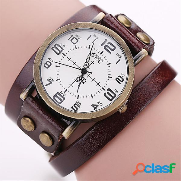 Casual cuero pulsera de múltiples capas relojes de pulsera mens relojes reloj de dial relojes para mujeres