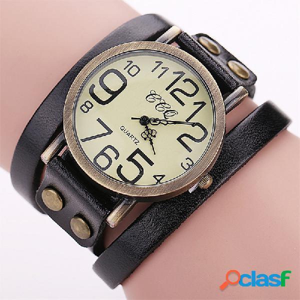 Pulsera casual de múltiples capas relojes de pulsera de cuero relojes para hombre relojes con esfera de números grandes para mujer