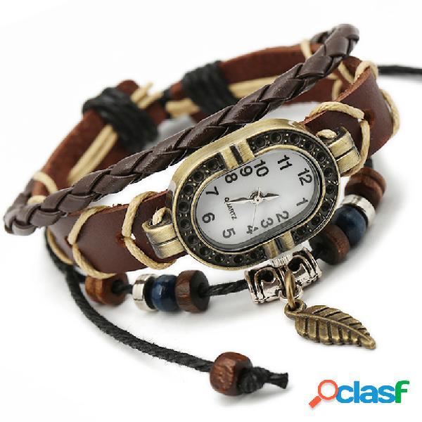 Punk pulseras de múltiples capas relojes granos de la hoja de la vendimia encanto colgante para hombre relojes de regalo para las mujeres