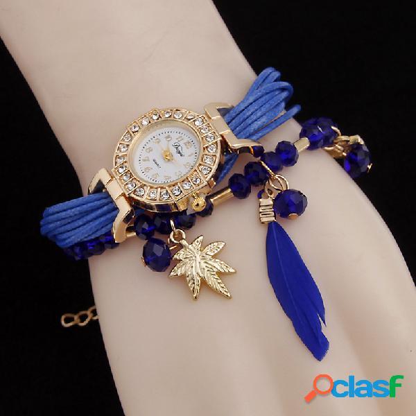 Bohemia pulsera de múltiples capas relojes búho hoja colgante de plumas relojes de cuarzo para las mujeres