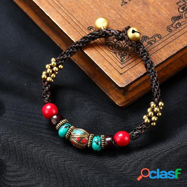 Original étnico hecho a mano exótico nepalí bead cuerda pulsera songshi joyería tibetana fou mujer