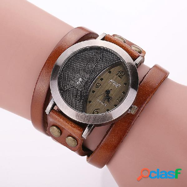 Casual pulsera de múltiples capas de cuero relojes de pulsera torre eiffel dial de cristal relojes para hombres de las mujeres
