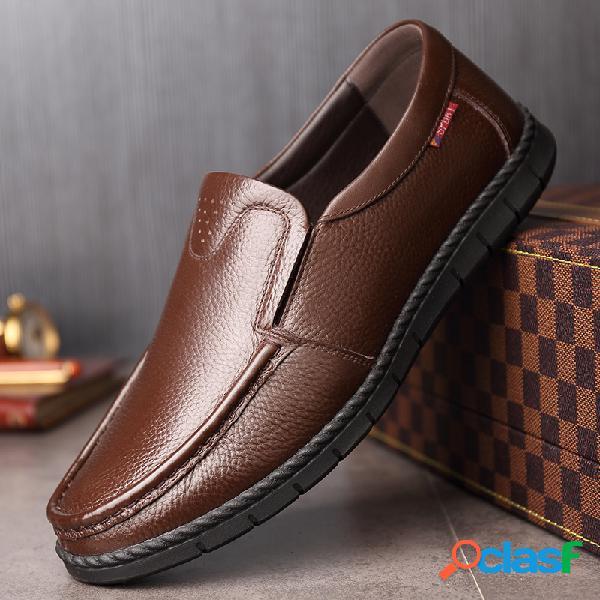 Mocasines clásicos de hombre moc toe slip on mocasines zapatos de cuero suaves