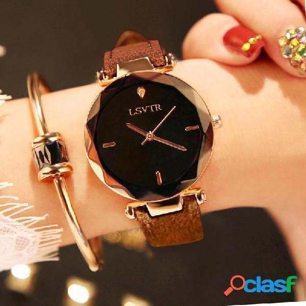 Reloj de pulsera de cuarzo de moda reloj fino de acero inoxidable negro blanco con esfera redonda y correa de cuero para mujer