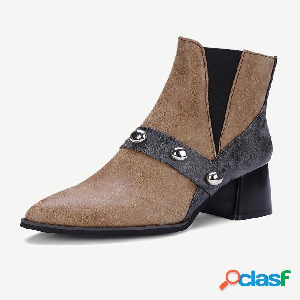 Talla grande mujer cómodo remache de empalme punta puntiaguda tacón grueso corto botas