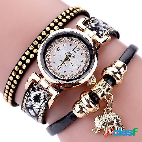 Moda cuarzo reloj de pulsera de múltiples capas correa de cuero elefante colgante reloj de pulsera para las mujeres