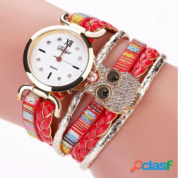 Reloj de pulsera de cuarzo de moda de múltiples capas de cuero de la trenza reloj de pulsera de búho para mujeres