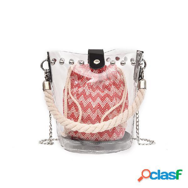 Mujer compras bolso de cadena transparente remache de lona transparente bolsa