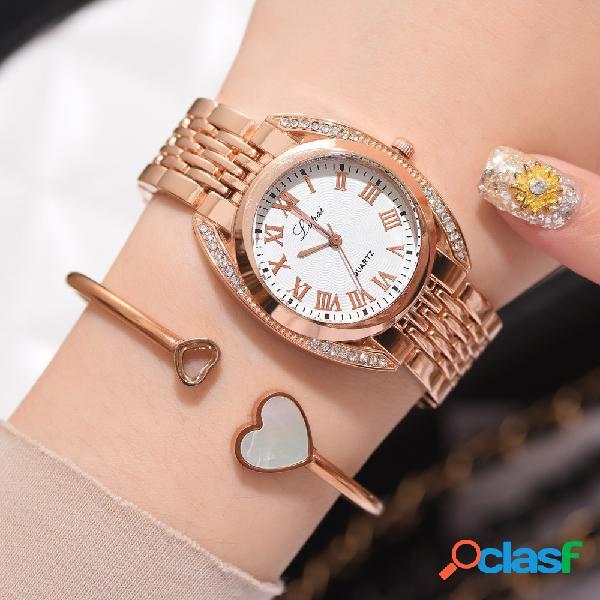 Reloj de cuarzo de moda número romano reloj casual de acero inoxidable para mujer