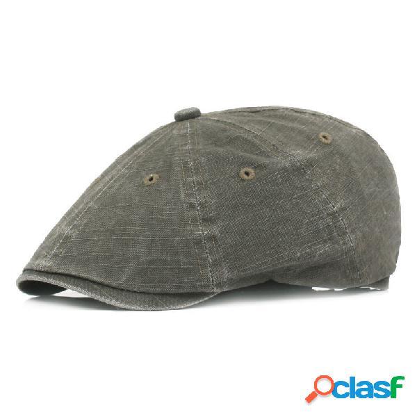 Hombre mujer verano algodón lavado retro boina gorra pato sombrero parasol casual gorra delantera