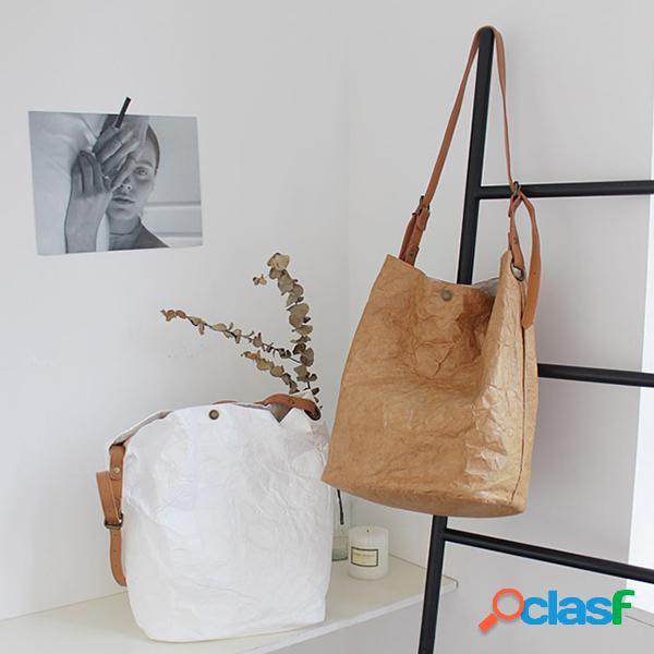 Mujer hombro retro bolsa cubo arrugado simple bolsa bandolera informal bolsa