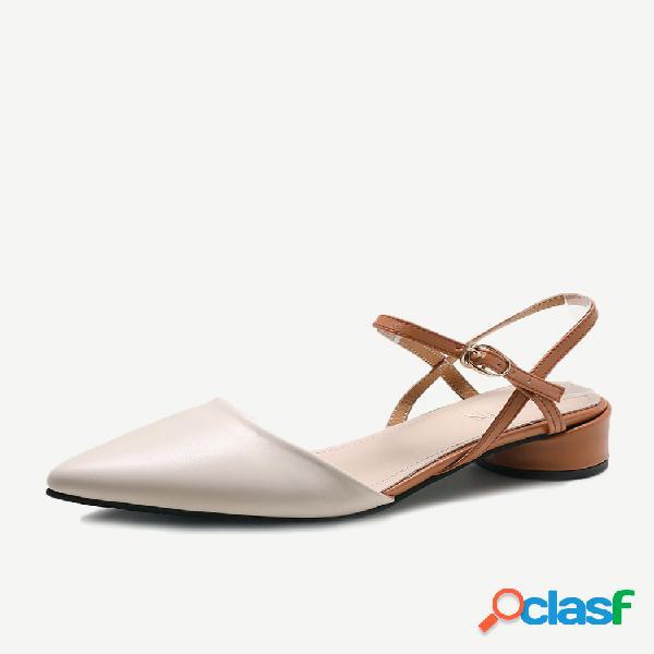Tacón grueso sandalias temporada femenina zapatos nuevos para mujer cabeza en punta con hebilla zapatos de trabajo
