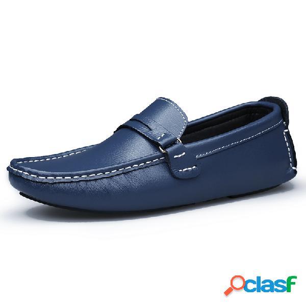 Mocasines de cuero para hombres comfy low toe soft mocasines de conducción informal