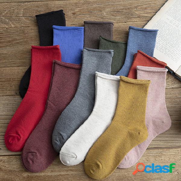 Nuevo producto curling tube calcetines medias de color salvaje para mujer algodón retro color para mujer calcetines