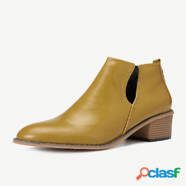 Moda de tobillo de tacón grueso en forma de v de gran tamaño botas