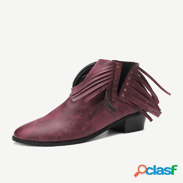 Borla en forma de v tacón grueso color sólido mujer tobillo botas