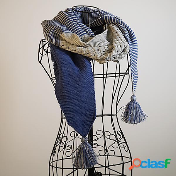 Graublau lässig bufandas y chales de punto para mujer