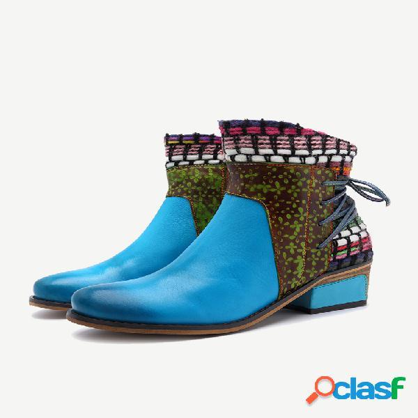 Tacón grueso de empalme de cuero de pu de gran tamaño de punto vaquero para mujer botas