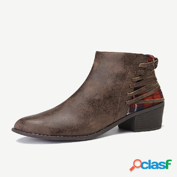 Plus talla mujer empalme punta puntiaguda cremallera tacón grueso tobillo botas