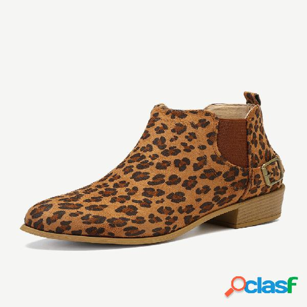 Talla grande mujer empalme de leopardo con tacón grueso botas