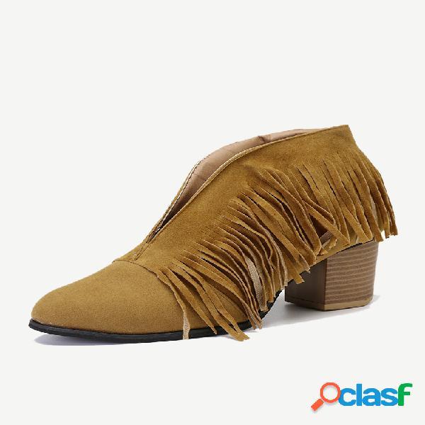 Mujer tobillo con tacón grueso y borla en forma de v botas
