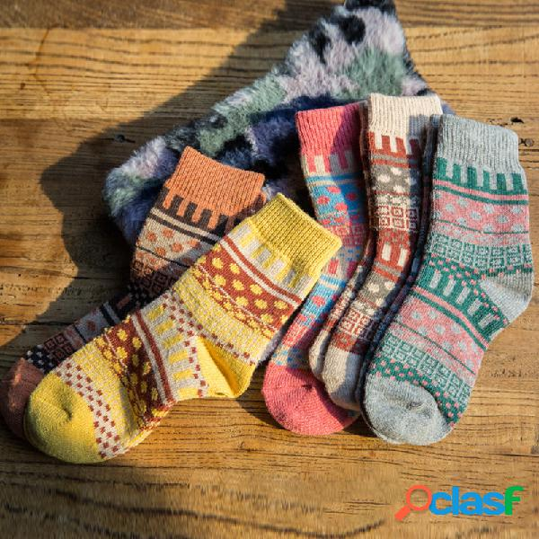 Mujer calcetines retro national wind wool calcetines tube calcetines