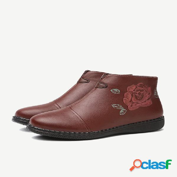 Mujer cremallera con estampado de flores retro soft tobillo plano botas
