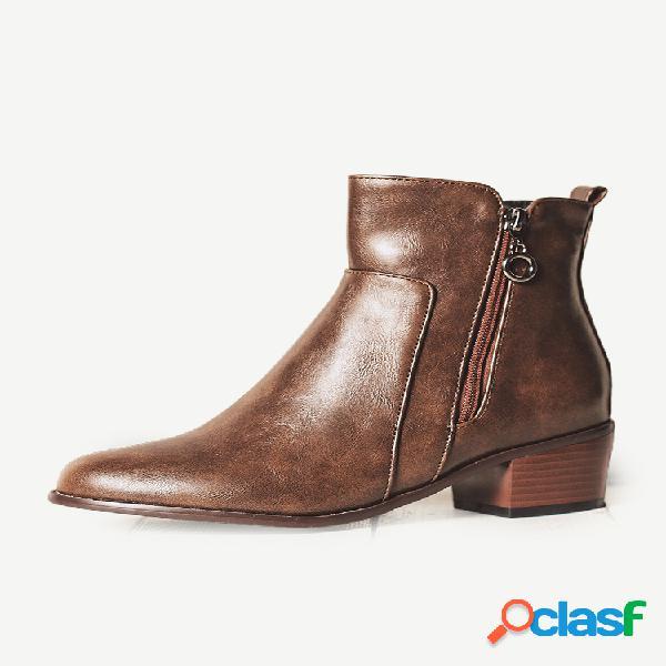 Tamaño grande mujer retro pu cuero tacón grueso cremallera tobillo botas