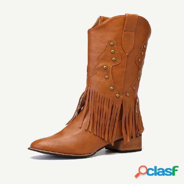 Tamaño grande mujer rodilla con borla de remache retro longitud tacón grueso botas