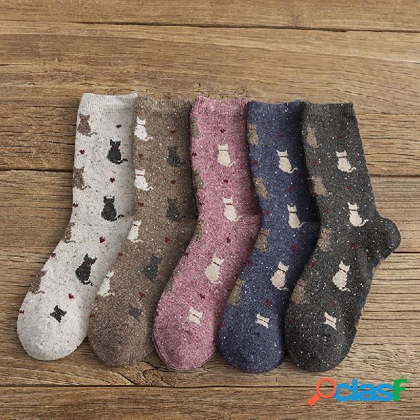 10pc retro warm mujer calcetines jacquard moda gato patrón