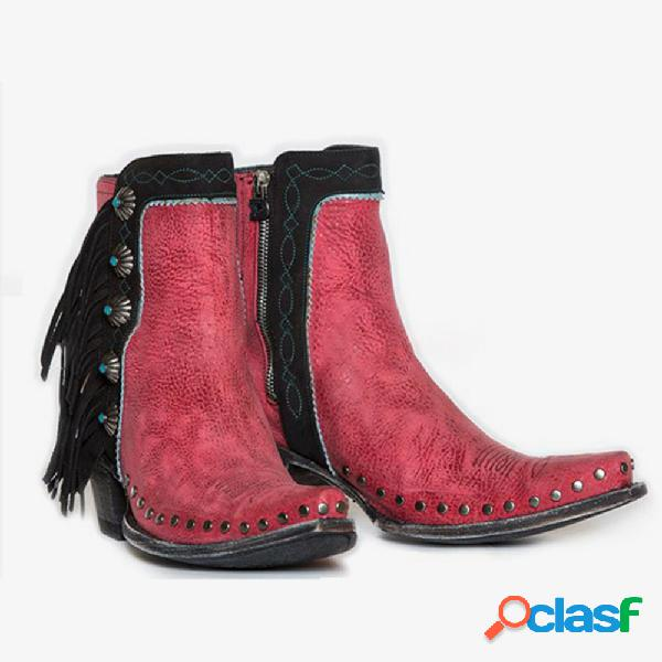 Plus talla remache borla decoración retro mujer tobillo tacón grueso botas