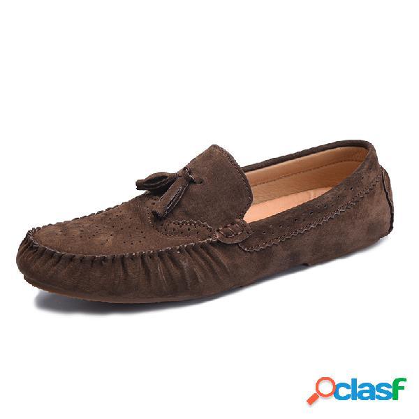 Mocasines borlas talladas con estilo soft slip on casual mocasines de cuero