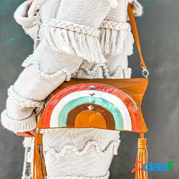 Mujer bandolera con remaches y borlas estampadas bohemias bolsa hombro bolsa