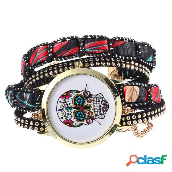 Étnico colorido cráneo patrón de múltiples capas reloj de pulsera señora pulsera reloj digital