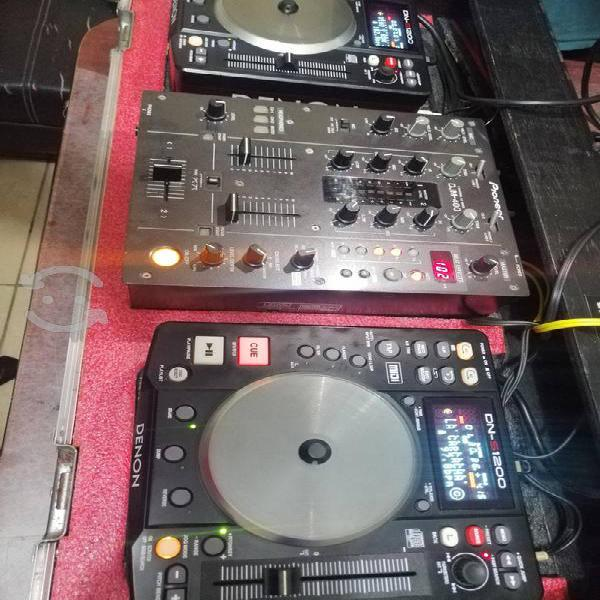 Denon dns-1200 + mixer djm-400 & case