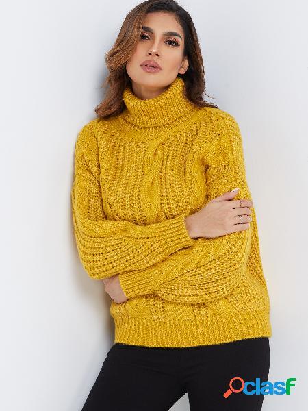 Manga larga con cuello redondo amarillo Mangas largas Detalles de nudos Suéteres
