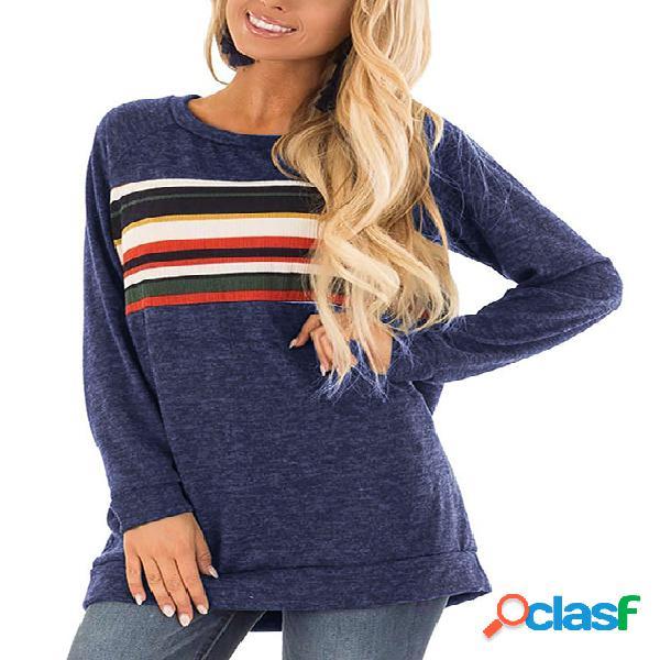 Camiseta holgada de manga larga con cuello redondo en azul marino