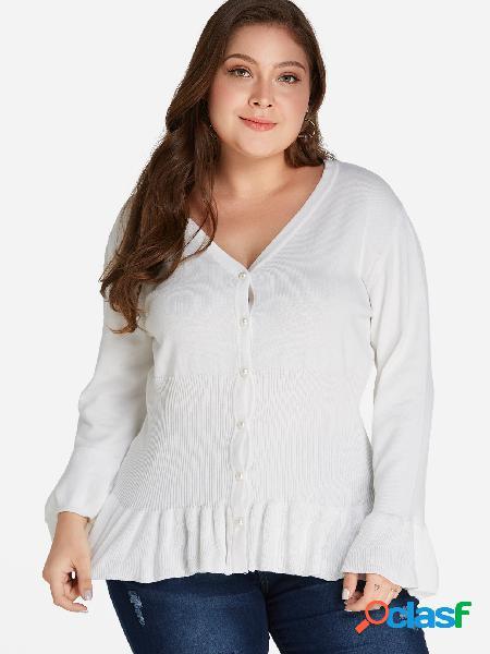 Más el tamaño de suéter blanco de manga del volante suéter dobladillo